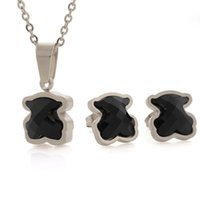 Wholesale cute black bears - 2018 Mujer pendientes oso Stainless Steel Cute ceramics Black gems agate pendant Jewelry Necklace Earring Set for women drop shipping bears