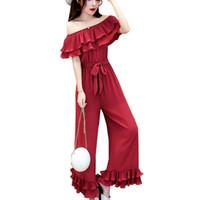 pantalon en mousseline de soie coréenne achat en gros de-Combinaisons femmes d'été mode coréenne hors épaule en mousseline de soie Combinaisons barboteuses Bureau Mesdames Ruffles Casual Pantalon large large jambe