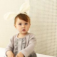 Wholesale white rabbit ears - Newborn baby White rabbit ears lovely headband Chiffon cotton Kids Elastic Cute Hairbands Girls Children Hair Accessories KHA702