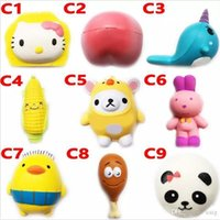 Wholesale Bears Toys - Squishy Toy bear peach rabbit fox squishies Slow Rising 10cm 12cm 15cm Soft Squeeze Cute Cell Phone Strap gift Stress children toy