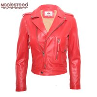 Wholesale Womens Lambskin Leather - MAPLESTEED Womens Leather Jacket Sheepskin Jacket Lambskin Red Black Female Genuine Leather Overcoat Ladies Biker Clothing M117