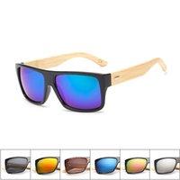 ahşap erkek bayan güneş gözlüğü toptan satış-Yeni 10 renk Bambu Güneş Gözlüğü Erkekler Ahşap Güneş Kadınlar Marka Tasarımcısı Ayna Orijinal Ahşap Güneş Gözlükleri