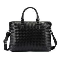 14 moda dizüstü bilgisayar çantası toptan satış-2018 Lüks El Dokuma İş Evrak Çantası Deri Moda 14