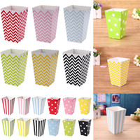 Wholesale birthday food boxes - Wave Circles Pattern Folding Candy Popcorn paper Boxes Birthday Party Wedding Candy Sanck Favor Bags Paper Chritmas gift GGA425 500PCS
