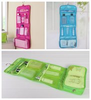 Wholesale bathroom hanging door for sale - Portable Foldable Travel Cosmetic Case Makeup Bags Hanging Toiletry Bags Bathroom Storage Bag Traveling Organizer DDA516