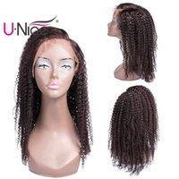 brazilian bakire afro kıvırcık peruk toptan satış-UNice Saç İnsan Saç Dantel Ön Peruk Kadınlar Için Bakire Brezilyalı Afro Kinky Kıvırcık Peruk Ön Koparıp Ağartılmış Knots Toptan Ucuz toplu