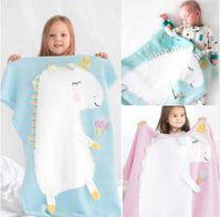 Wholesale boys animal bedding - Kids Cute Unicorn Knitting Blanket Bedding Quilt Play Blanket Air Conditioning Blanket Boy Girls Knit Blankets Quilt 105*75CM KKA5585