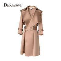 Wholesale Hooded Womens Trench Coat - Wholesale- Dabuwawa Camel Autumn Long Sleeve Fashion Womens Windbreakers Formal Trench Coat