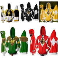 Wholesale Movie Power Rangers Costume Power Rangers Sweatshirts Cosplay European and American D Printing zipper Jacket Hooded sweater