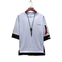 Wholesale fake tees for sale - Group buy New Men Fake Two Pieces High Street Casual Tshirts Summer Male Hip Hop Tees Short Sleeve Crew Neck Tops