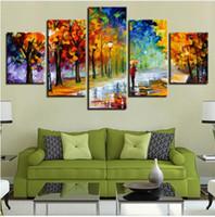 modern yaprak resimleri toptan satış-Akçaağaç Yaprakları Sonbahar Sokak Lambası Boyama Tuval Sanat Çalışma Oturma Odası Ev Duvar Dekor için Modern Tuval Boyama HD Baskı