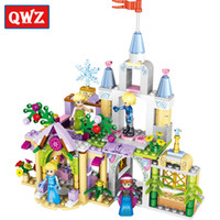 Wholesale Diy Princess Girl Gifts - QWZ 4Style 4 in1 Princess Castle Building Blocks Sets DIY Bricks Birthday Gifts Toys For Girls Compatible With Legoe Friends