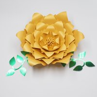 Wholesale gallery photos - 1Piece FLower+2PCS Leaves Giant Paper Flowers Wedding Backdrop Photography Photo Shoots galleries, fashion and trade Shows Deco