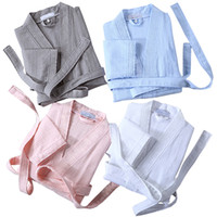 Wholesale Summer Lovers Sleepwear - Lovers Cotton Waffle Bath Robe Kimono Sexy Men Summer Bathrobe Suck Sweat Mens Dressing Gown Male Lounge Robes Thin Sleepwear