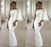 vestidos de noche elegantes únicos al por mayor-2018 Elegant White Mermaid Vestidos de noche One-Hombro Lentejuelas Unique Design Hasta el suelo Vestidos para ocasiones especiales Charming Prom Dresses