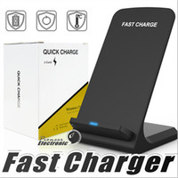 Wholesale wireless charger - 2 Coils Wireless Charger Fast Qi Wireless Charging Stand Pad for Apple iPhone X Plus Samsung Note S8 S7 all Qi enabled Smartphones