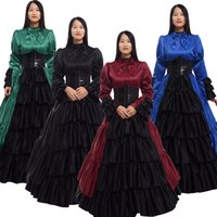 ingrosso vestito lungo dal corsetto blu reale-Lolita Victorian Dress Corset Gown Donna Halloween Cosplay Vintage Donna Gothic Retro Royal Blue manica lunga piano-Costume
