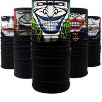 sombrero multifuncional sin costuras al por mayor-Muchos estilos Skull And Ghost Pañuelo en la cabeza al aire libre Seamless Face Mask Multifuncional en ciclo Bandana Fashion Sport Headwear 1 3sm W