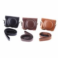 deri kamera lens kutuları toptan satış-Freeshipping 3 Renkler Moda Vintage PU Deri Kamera Kılıf Çanta Canon G9X Kamera Için