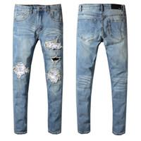 bc60f5cfdde1 Wholesale silver jumpsuit men online - Men Jeans Ripped Jeans Blue Rock  Star Mens Jumpsuit Designer