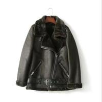 черная куртка оптовых-Faux Leather Suede Coat  Black Leather Jacket Winter Warm Lambs Wool Fur Collar Suede Jackets Shearling Coats Women