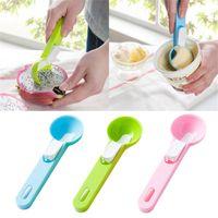 dondurma kazı toptan satış-1 adet Renkli Dondurma Kaşığı Gıda-Plastik Plastik Dig Dondurma Topu Karpuz Meyve Kazma Küresel Şekil Krem