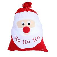 ingrosso grande sacchetto di santa-Decorazione di Natale squisita Santa grande sacco calza Grandi sacchi regalo HO HO Natale Babbo Natale regali natalizi Borse Navidad