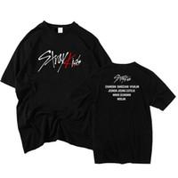camiseta dos homens unisex venda por atacado-Kpop Stray Crianças Concerto T-Shirt Bangchan Woojin Algodão Camisa Ocasional Unisex Tee