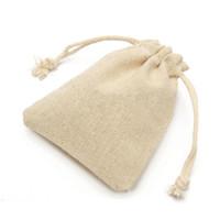 pequenos sacos de corda de casamento venda por atacado-50 Pc Set Pequeno Saco De Favores Do Partido Do Casamento Bolsa De Linho De Juta Com Cordão Sacos de Presente