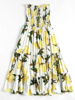 kapalı omuz bohem mini elbisesi toptan satış-Zaful yaz bohem plaj uzun dress yeni moda kadınlar dress off omuz lemon baskı mini straplez boho elbiseler vestidos