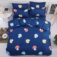 Wholesale country bedding sets queen resale online - Mushroom Bedding Set Dark Blue Duvet Cover Flat Sheet Pillowcase Polyester Single Queen King Size Kid Teen Girl Boy Bedlinen