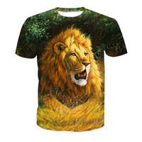 vendendo camisas 3d venda por atacado-Frete Grátis por atacado Venda Quente Casal Casual T-shirt Lobo Leão 3D Imprensa Calor Impressão Hip Hop Tops Tees