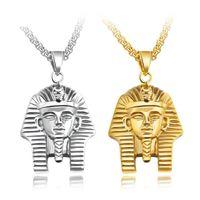 pingente de cadeia de faraó venda por atacado-Titanium aço faraó pingente colares de prata de ouro cores cabeça pingentes de 24 polegadas cadeia homens hip hop moda jóias