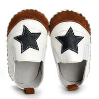 Wholesale baby girl leather moccasins resale online - 1 Pair Leather Baby Moccasins Anti Slip Soft Bottom Boys First Walker Slip On Star Patched Baby Boy Girl Toddler Shoes