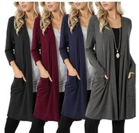 Wholesale cardigan tee resale online - 4styles Knitting Cardigan Solid Jackets Long Sleeve Sweater Autumn Open Stitch Coat Casual Thin Knits Long Cardigans simple tees FFA1017