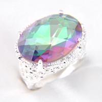 marca mística al por mayor-Luckyshine 16 * 12 mm Estilo Punk Marca de moda Plateado cristal austriaco Mystic Topaz Zirconia Gemas Amantes Anillos de boda