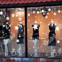 etiquetas da janela do feliz natal venda por atacado-2019 ano novo 45x60 cm merry decorações de natal para casa loja de roupas de vidro criativo adesivos de parede navidad natal parede Y18102609
