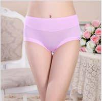 Wholesale bamboo panties - Sexy Women Underwear Ladies Cotton Panties Bamboo Fiber Soft Briefs Female Solid High-Rise Panty Women Underwear Plus Size M-2XL