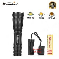Wholesale AloneFire E007 Camping Flashlight Led Torch XML T6 Zoomable AAA Rechargeable Battery Outdoor exploration fishing lighting