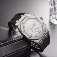 movimiento de cuarzo precio relojes al por mayor-Top precio barato al por mayor para hombre deporte reloj de pulsera 40 mm movimiento de cuarzo reloj de reloj masculino con banda de goma relojes offshore