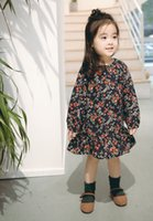 Wholesale spring new arrival korean for sale - Korean style Spring new arrivals Girls Lovely long sleeve full flowers print girls dress casual fashion dress