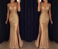 Wholesale rhinestone prom dress online - Mermaid Prom Dresses with Split V Neck Crystal Bead Rhinestone Tulle Formal Evening Gowns Celebrity Party Dress Vestidos de maternidad