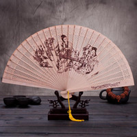 Wholesale fragrant wood resale online - Folding Fans Antiquity Women Dance Fragrant Wood Hand Fan Customizable Wedding Favors For Guest Gifts Arts And Crafts jg ff