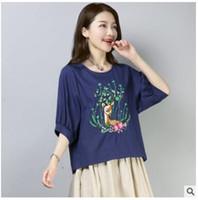 Wholesale korean womens fashion blouses - 2017 New Fashion Summer ladies tops Korean linen blouse top women blusas mujer Print shirt shirts Vetement Femme womens blouses
