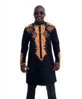 traditionellen stand großhandel-Afrikanische Kleidung African Dashiki Traditional Maxi Man afrikanischen Stehkragen Langarm-Langarm-Shirt Plus Größe