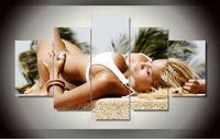 plaj soyut tuval duvar sanatı toptan satış-Plaj bikini güzellik kız 5 Panel Hediye Boyama Modern Dekoratif Soyut sanat Dans Güzel boyama Tuval Wall Art Çerçeveli