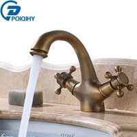 Wholesale antique ship sinks - Antique Brass Dual Handle Single Holse Basin Sink Fuacet Bathroom Mixer Tap Cold and Hot Water Faucet Free Shipping