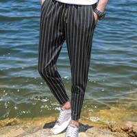siyah beyaz erkek pantolonu toptan satış-Moda Erkek Çizgili Jogger Pantolon siyah ve beyaz Çizgili Jogger Pantolon Yaz Rahat Erkek Streetwear Hiphop Pantolon Artı Boyutu