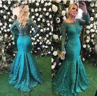 Wholesale Teal Trumpet Dress - Barbara Melo Long Sleeve Lace Mermaid Evening Formal Dresses 2018 Teal Burgundy Beaded Full length Fishtail Prom Party Gowns Cheap