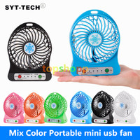 Wholesale usb laptop battery - 100% Tested Rechargeable LED Light Fan Air Cooler Mini Desk USB 18650 Battery Rechargeable Fan With Retail Package for PC Laptop Computer